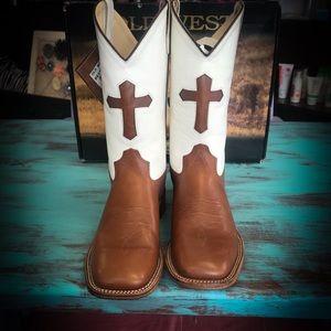 Old West Cowboy Cross Boots NIB size 5 unisex